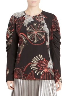 Dries Van Noten Silk Embellished Puff-Sleeve Blouse