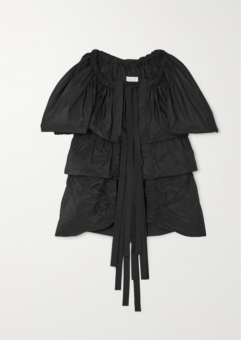 Dries Van Noten Caesar Tie-front Tiered Gathered Taffeta Blouse