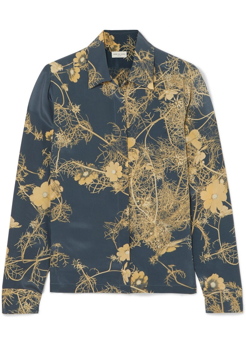 Dries Van Noten Cakool Floral-print Silk Crepe De Chine Shirt