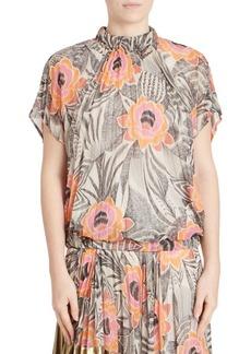 Dries Van Noten Cap-Sleeve Pleated Floral Top