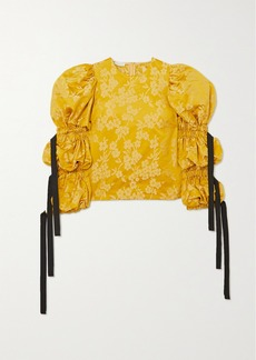 Dries Van Noten Tie-detailed Gathered Floral-brocade Blouse