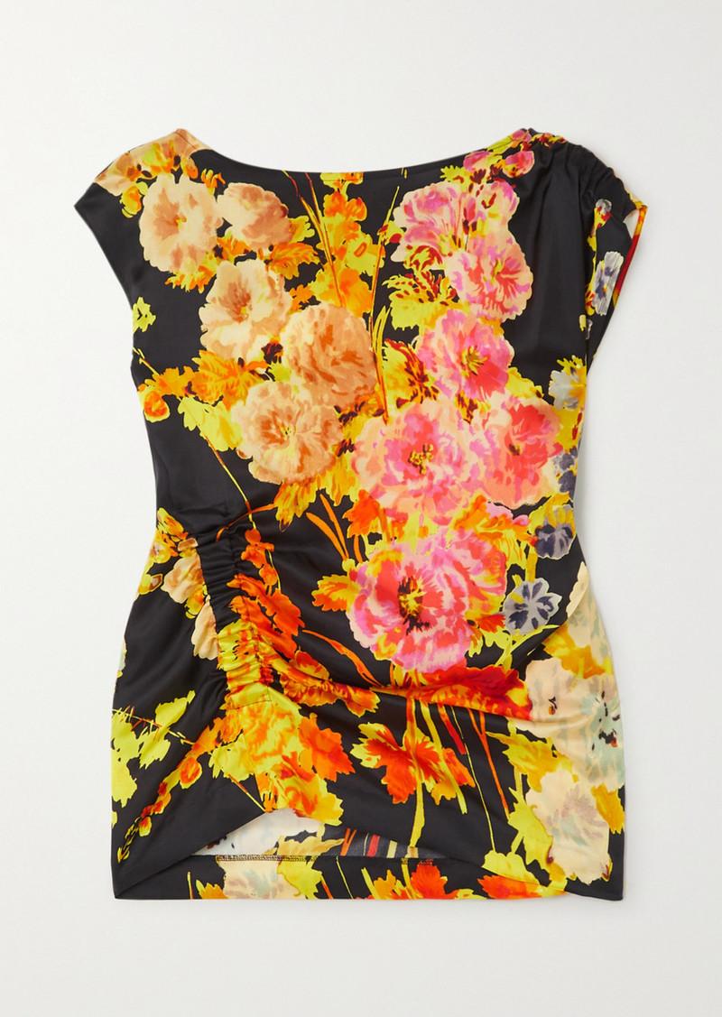 Dries Van Noten Ceto Ruched Floral-print Satin Blouse