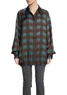 Dries Van Noten Checkered Drawstring-Hem Button-Front Blouse
