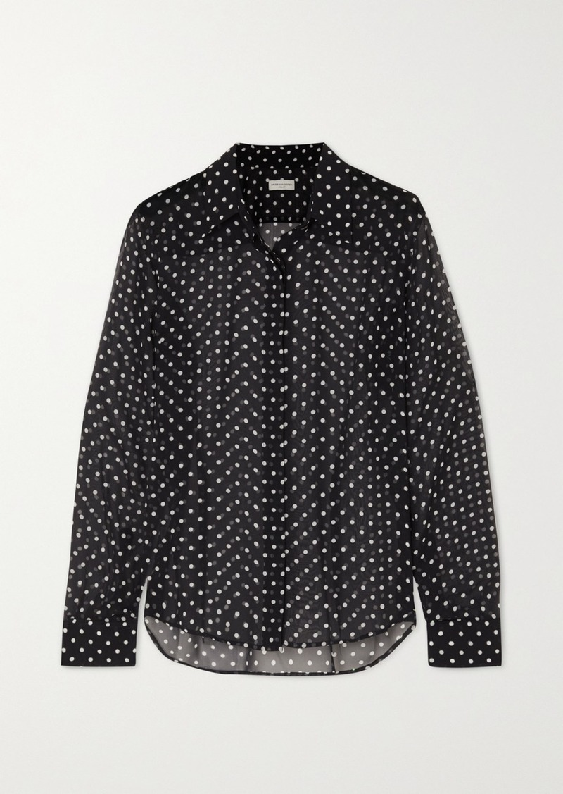 Dries Van Noten Chow Polka-dot Silk-chiffon Blouse