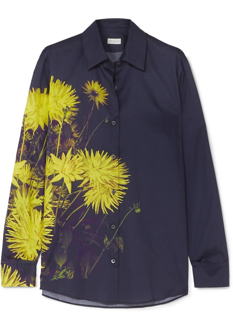 Dries Van Noten Clavelly Floral-print Cotton-poplin Shirt