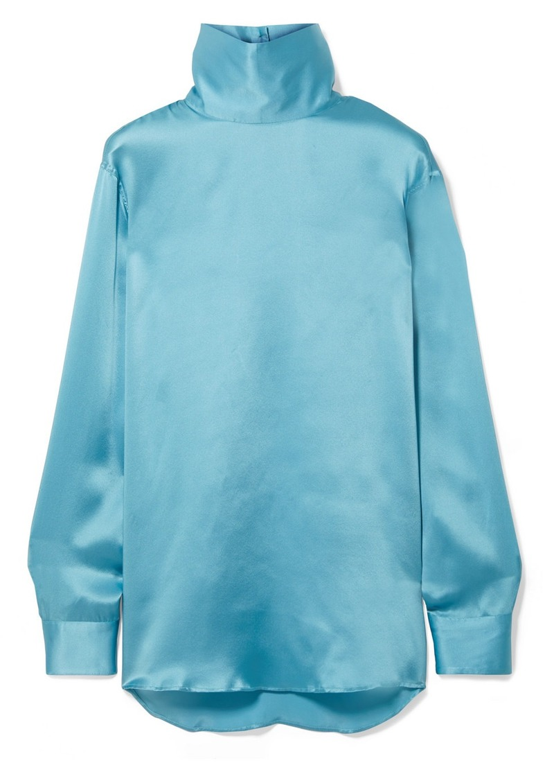 Dries Van Noten Contisy Silk-satin Turtleneck Top