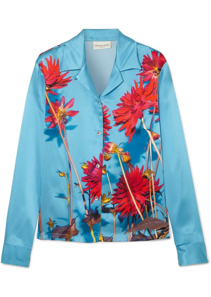 Dries Van Noten Copine Floral-print Silk-satin Shirt