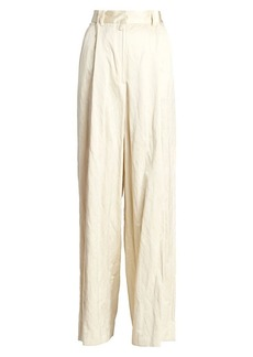 Dries Van Noten Crinkle Wide-Leg Pants