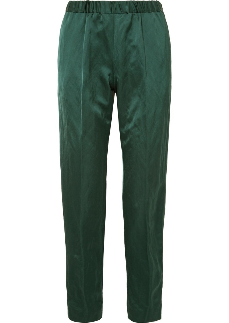 Dries Van Noten Crinkled-satin Slim-leg Pants