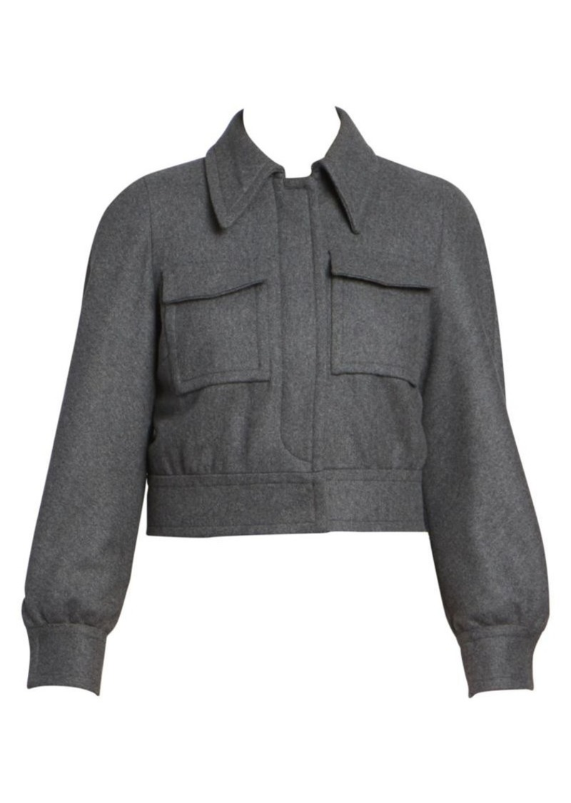 Dries Van Noten Cropped Stretch-Wool Pocket Jacket