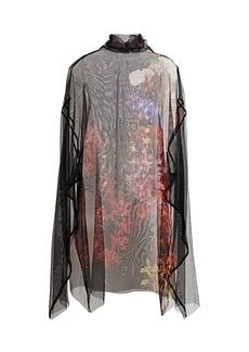 Dries Van Noten Darci Floral-Print Silk Tulle Top