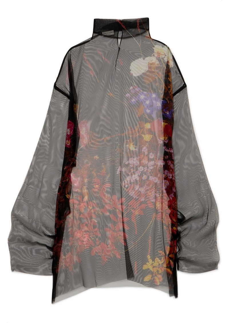 Dries Van Noten Darci Oversized Floral-print Silk-tulle Tunic