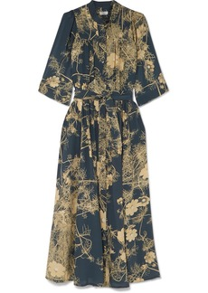 Dries Van Noten Darette Floral-print Silk Crepe De Chine Midi Dress