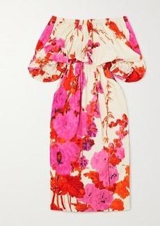 Dries Van Noten Dayna Off-the-shoulder Gathered Floral-print Poplin Midi Dress