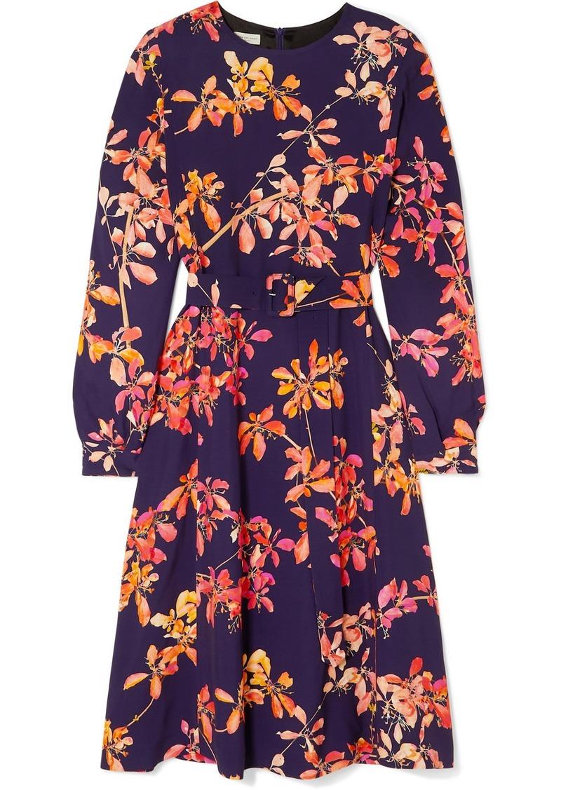 Dries Van Noten Dicina Belted Floral-print Crepe Midi Dress
