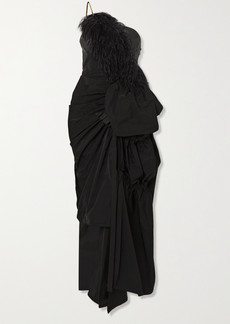 Dries Van Noten Ditomi Asymmetric Feather-trimmed Crystal-embellished Taffeta Gown