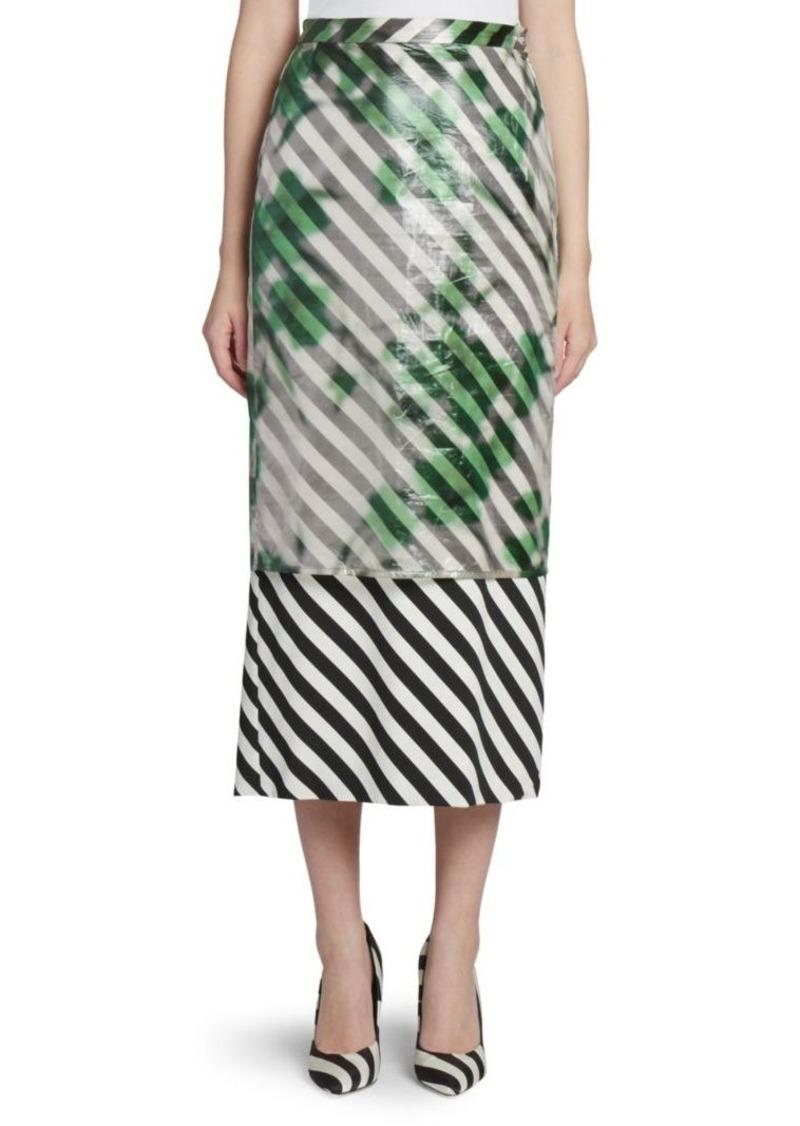 Dries Van Noten Double Layer Striped Midi Skirt