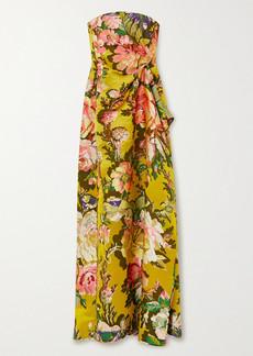 Dries Van Noten Dramus Asymmetric Strapless Floral-jacquard Gown