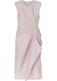 Dries Van Noten Draped Ruffled Lamé Midi Dress