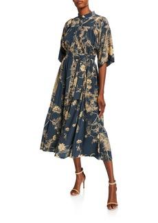 Dries Van Noten 1/2-Sleeve Floral Print Pleated Silk Dress