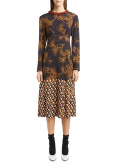 Dries Van Noten Beaded Neck Print Midi Dress