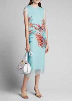 Dries Van Noten Bouquet-Print Tulle Dress