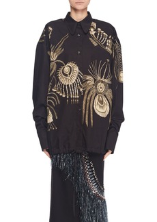 Dries Van Noten Button-Front Long-Sleeve Drawstring Embroidered Cotton Top