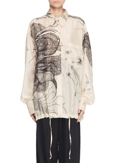 Dries Van Noten Button-Front Long-Sleeve Printed Silk Blouse w/ Drawstring Hem