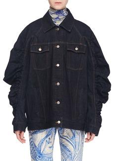 Dries Van Noten Button-Front Ruched-Sleeve Oversized Denim Jacket