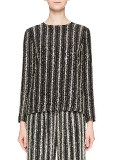 Dries Van Noten Caius Long-Sleeve Open-Back Striped Sequin Tunic