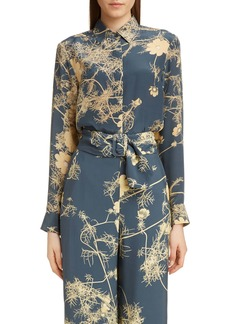 Dries Van Noten Cakool Branch Print Silk Shirt