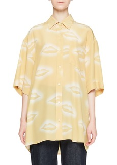 Dries Van Noten Charle Lip-Print Collared Button-Front Silk Blouse