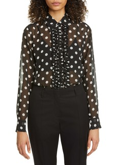 Dries Van Noten Chow Polka Dot Ruffle Chiffon Blouse
