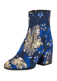 Dries Van Noten Chunky-Heel Brocade Booties