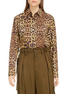 Dries Van Noten Clavelly Leopard Print Cotton Blouse