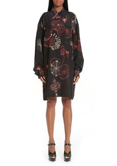 Dries Van Noten Coral Print Silk Shirtdress