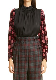 Dries Van Noten Coxe Contrast Sleeve Blouse