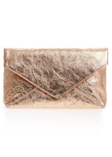 Dries van Noten Crinkle Metallic Leather Envelope Clutch
