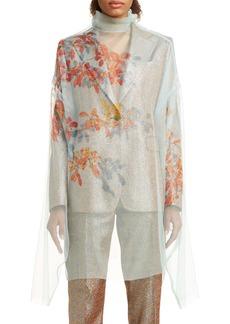 Dries Van Noten Darci Shadow Leaf Sheer Silk Top
