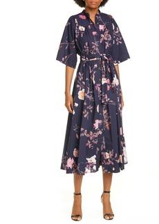 Dries Van Noten Darette Floral Print Cotton Midi Shirtdress