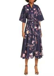 Dries Van Noten Darette Floral Print Cotton Midi Shirtdress