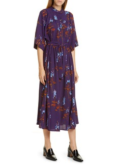 Dries Van Noten Darette Stems Print Midi Shirtdress