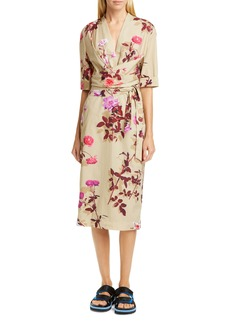Dries Van Noten Darmina Rose Print Midi Wrap Dress