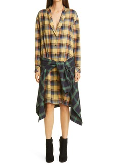 Dries Van Noten Daruno Plaid Long Sleeve Shirtdress