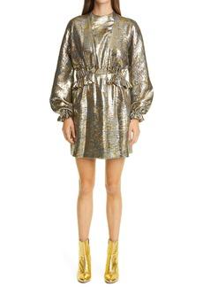 Dries Van Noten Dasoni Metallic Long Sleeve Dress