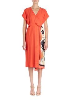 Dries Van Noten Defix Short-Sleeve Wrap Dress w/ Foulard Side Scarf Detail