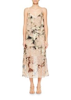 Dries Van Noten Delax Two-in-One Floral-Print Organza Midi Dress