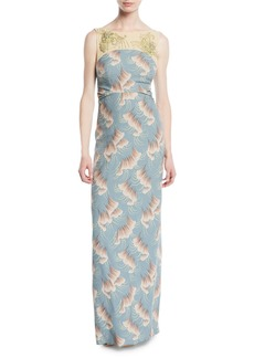 Dries Van Noten Delicia Sleeveless Jeweled-Yoke Ginkgo-Print Column Evening Gown