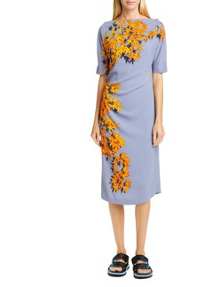 Dries Van Noten Derus Maple Print Ruched Midi Dress