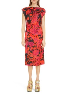 Dries Van Noten Deto Floral Ruched Sheath Dress